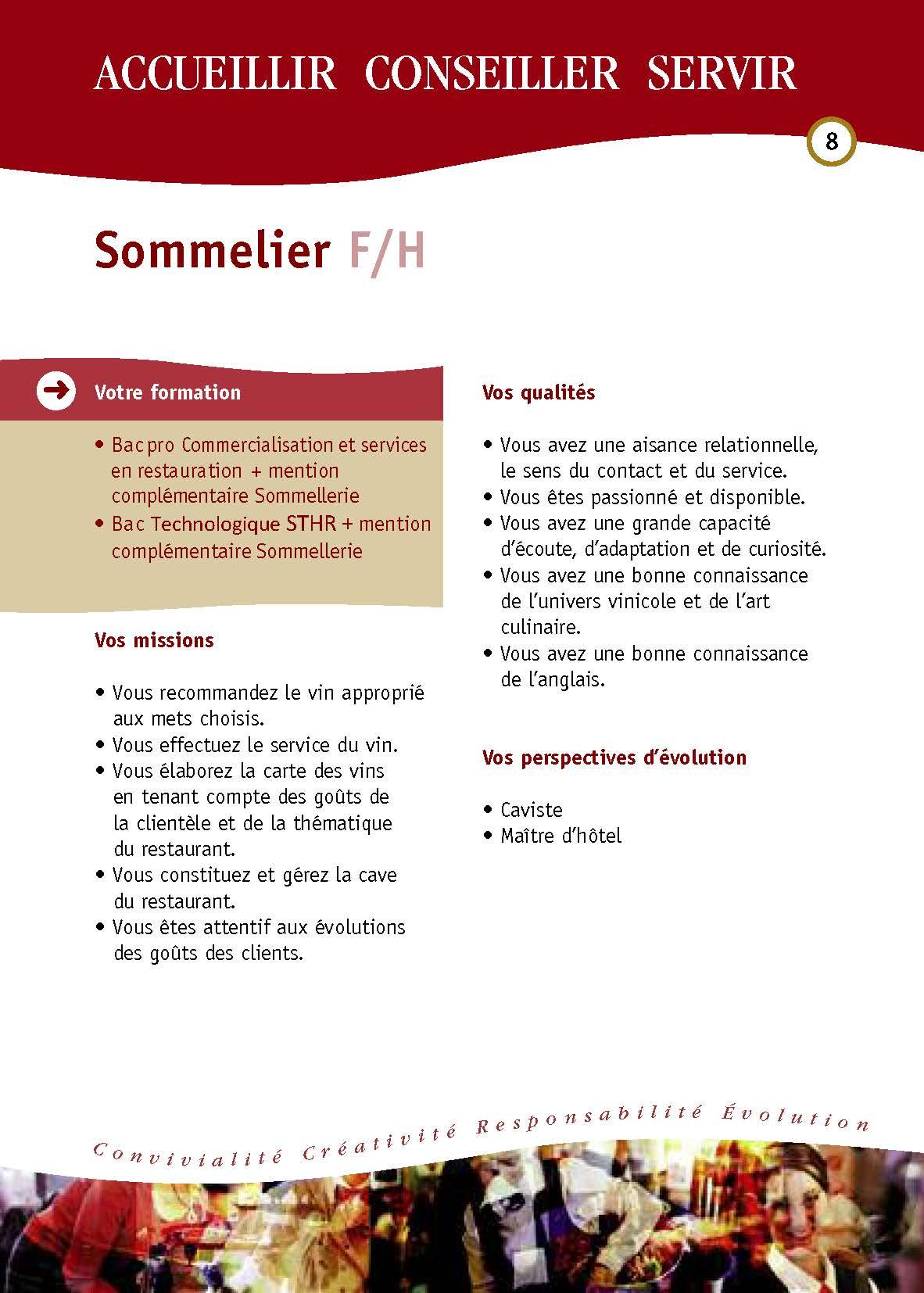 Fiches Des Metiers Hotellerie Restauration Hotellerie Restauration