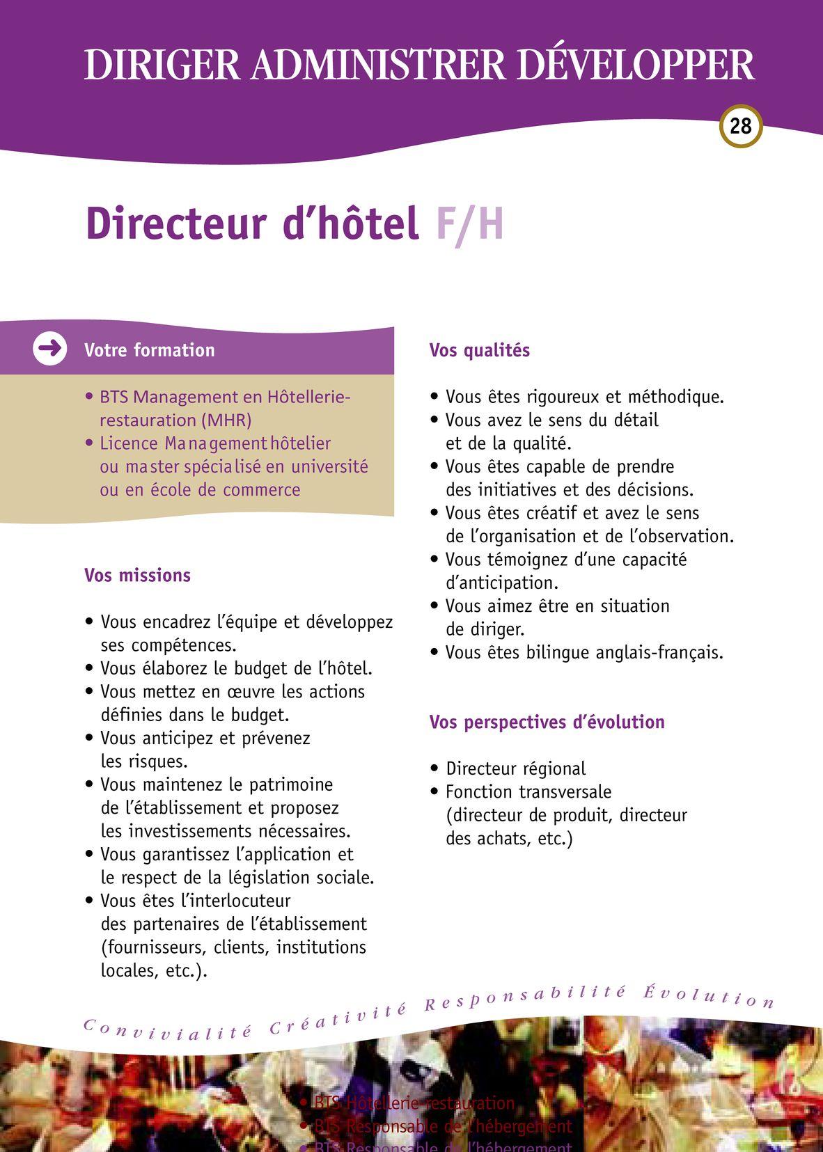 Fiches des métiers Hôtellerie-Restauration - Hôtellerie ...