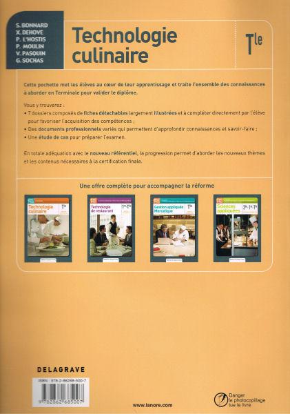 Note de lecture ouvrages p dagogiques h tellerie restauration - Technologie cuisine bac pro ...